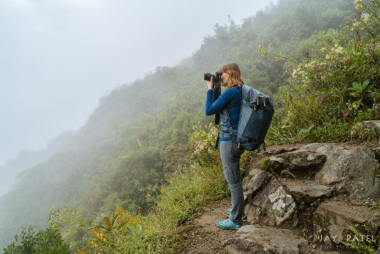 Varina Patel on Macchu Mountain Hike with Explore 40 Camera Bag with Women's Straps