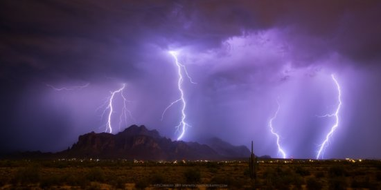Lightning photography at the Superstition Mountains in Arizona by Peter Coskun