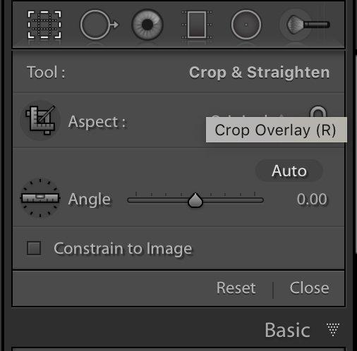 Crop tool panel in Lightroom Classic