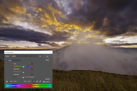 Hue/Saturation adjustments for landscape photography in Photoshop by Jay Patel