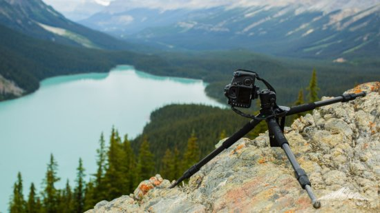 Landscape photography tripod with independent leg adjustments.