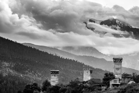 Travel photography composition from Svan Towers in Svaneti, Mestia, Georgia.