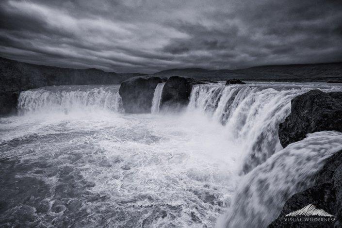 Black White Landscape Photography at Godafoss, Iceland