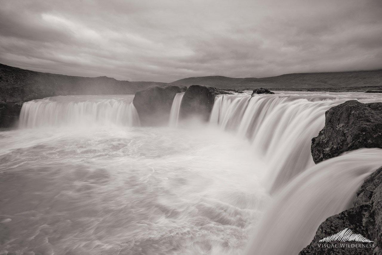 Sepia Toned Landscape Photography at Godafoss, Iceland