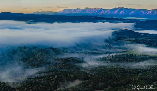 Drone Photography of fog over Browns Canyon National Monument