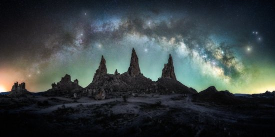 Night photography panorama over Trona Pinnacles in California by Austin Jackson