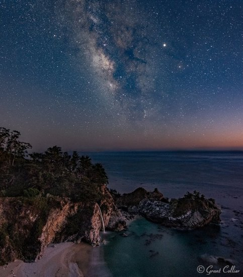 Milky Way night photography over McWay Falls, California by Grant Collier