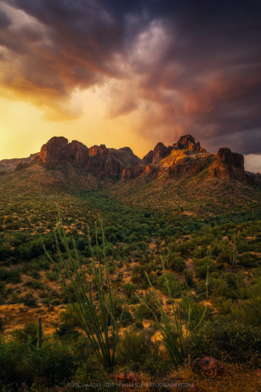 Monsoon over the Superstition Wilderness in Arizona