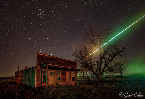 Night Photography during Meteor Shower over Ghost Building, Dearfield, Colorado by Grant Collier