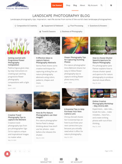 Landscape photography blog layout in 2020 on a tablet