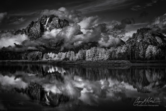 Black and white landscape photography at mid day from Oxbow Bend, Grand Tetons, Wyoming by Craig McCord