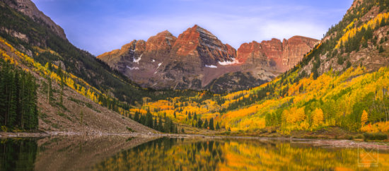 Using fall colors for photographing mountains, Maroon Bells, Colorado by Sanders Park